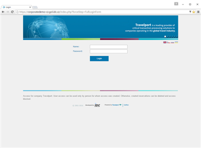 Login page (demo site)